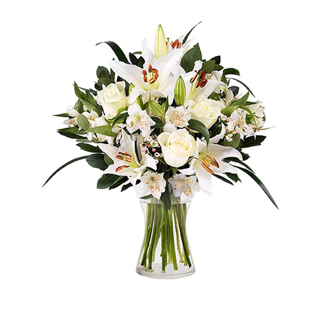 Bouquet Lilium e Rose Bianche shop online